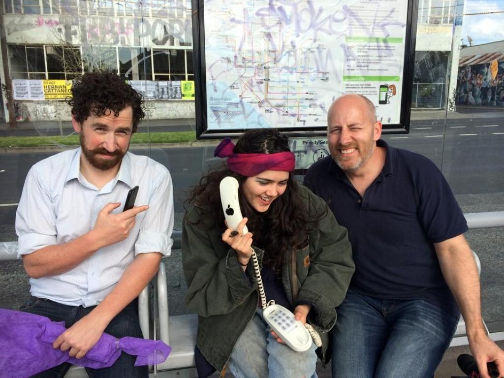 Ben Lewis Phil at tram stop